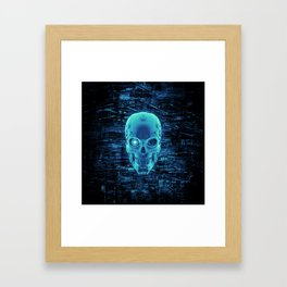 Gamer Skull BLUE TECH / 3D render of cyborg head Framed Art Print