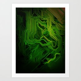 Green glowing circuit - by Brian Vegas Art Print