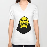 skeletor V-neck T-shirts featuring Skeletor. by Glassy