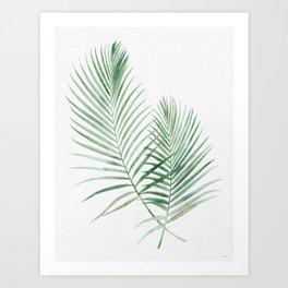 Twin Tropical Palm Fronds - Emerald Green Art Print