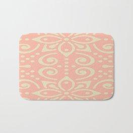 White On Pink Boho Design Bath Mat