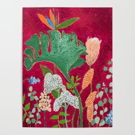 Fuchsia Pink Floral Jungle Painting Poster