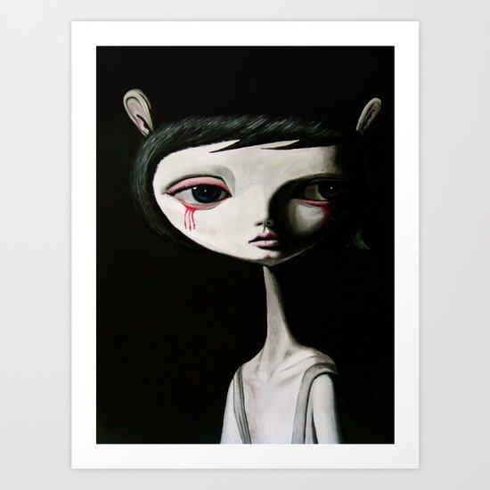 sad blood drop Art Print