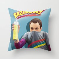 bazinga Throw Pillows featuring Sheldon  - BAZINGA! by ShannonPosedenti