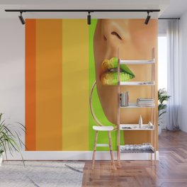 Lips in pastel lines Wall Mural