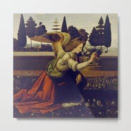 """Leonardo da Vinci """"Annunciation 1. (Archangel Gabriel)"""" Metal Print"""