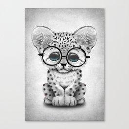 Cute Snow Leopard Cub Wearing Glasses Canvas Print