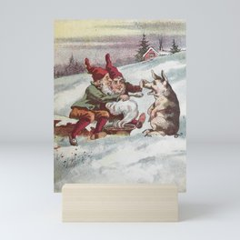 Christmas Card from Sweden, 1800s Mini Art Print