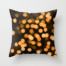 Golden Holiday Bokeh Throw Pillow
