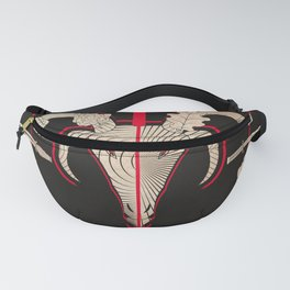 Goat head with roses, oak leaves, and daggers Fanny Pack