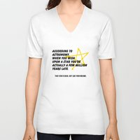 astronomy V-neck T-shirts featuring According to Astronomy by Spooky Dooky