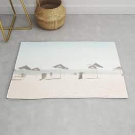 At the Beach (nine) -  blue and white minimal beach series by Ingrid Beddoes Rug