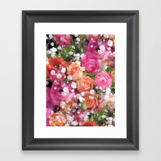 Baby's Breath and Candy Roses Framed Art Print