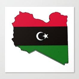 Libya Map with Libyan Flag Canvas Print
