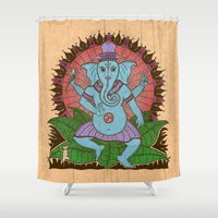 ganesh Shower Curtains featuring peace ganesh by Peter Patrick Barreda