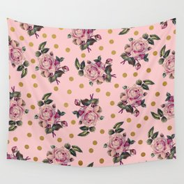 Pink Roses on Pink Wall Tapestry