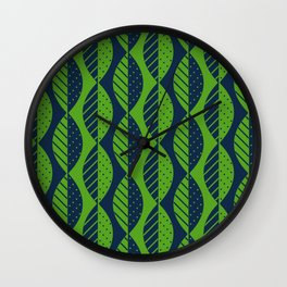 Mod Leaves in Navy Blue and Lime Green Wall Clock