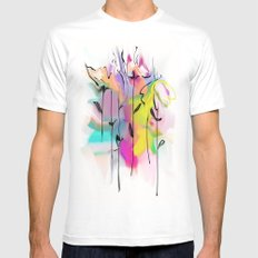 abstract flowers MEDIUM White Mens Fitted Tee