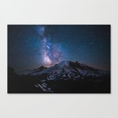Mount Rainier under the stars Canvas Print