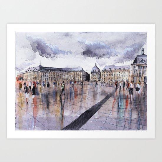 La Place de la Bourse - watercolor Art Print