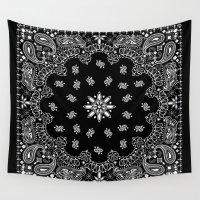 tupac Wall Tapestries featuring black and white bandana by Marta Olga Klara