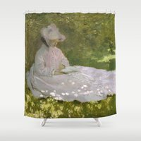 monet Shower Curtains featuring Springtime by Claude Monet by Palazzo Art Gallery