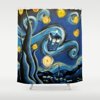 targaryen Shower Curtains featuring Tardis Starry Night by DavinciArt