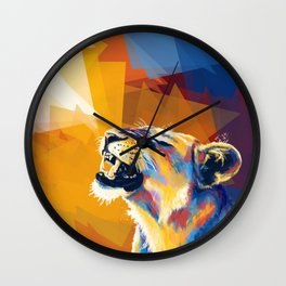 In the Sunlight - Lion portrait, animal digital art Wall Clock