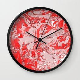 Red and white Marble texture acrylic Liquid paint art Wall Clock