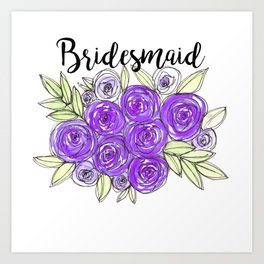 Bridesmaid Wedding Bridal Purple Violet Lavender Roses Watercolor Art Print