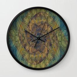Mayan Shadows- Abstract Art- Watercolor Art- Blue Art- Brown Art- Ocean- Water Wall Clock