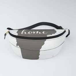 Vermont is Home - Charcoal on White Wood Fanny Pack