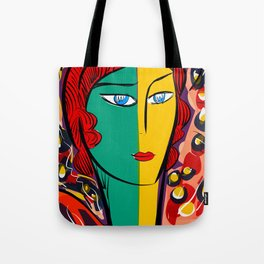 Green Yellow Pop Girl Portrait French Art Illustration Tote Bag