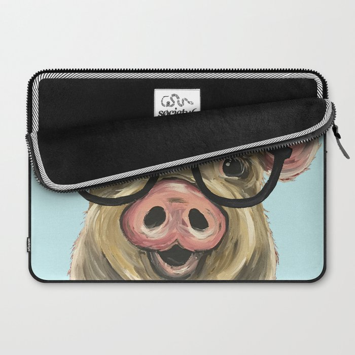 Cute Pig Painting Farm Animal With Glasses Laptop Sleeve By