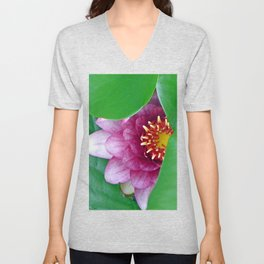 Pink Water Lily Unisex V-Neck