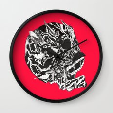 Skull Moustache Wall Clock