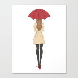 Fashion Girl Red Umbrella Red Bottom Heels (Rectangle) Canvas Print