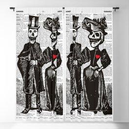 Calavera Couple | Skeleton Couple | Calaveras | Vintage Couple | Victorian Gothic | Dictionary Text Blackout Curtain
