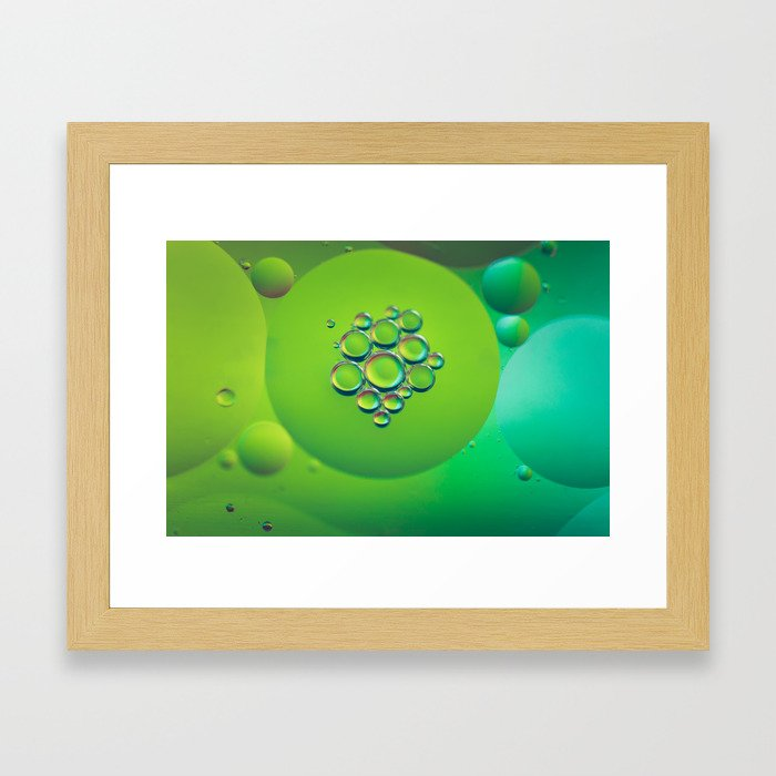 Defocused rainbow abstract background picture made with oil, water and soap Framed Art Print