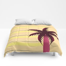 Palm tree and stripes Comforters
