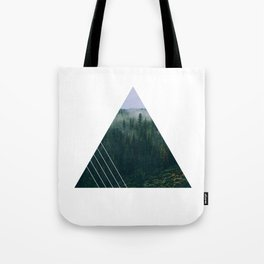 foggy triangle forest Tote Bag