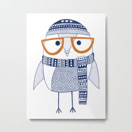 Hipster owl - orange glasses Metal Print