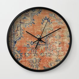 Vintage Woven Navy and Orange Wall Clock