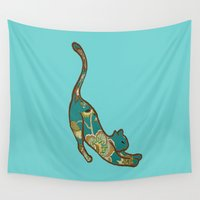 jewish Wall Tapestries featuring I love you Kitten in Blue-Green by Brown Eyed Lady