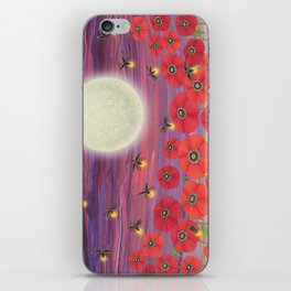 purple sky, fireflies, snails, and poppies iPhone Skin