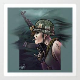 AK47 Soldier Girl Art Print