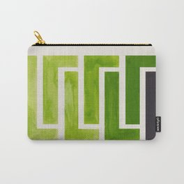 Olive Green Inca Braid Minimalist Geometric Pattern Mid Century Modern Watercolor Painting Carry-All Pouch