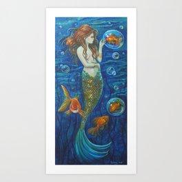 Mermaid with Goldfish Art Print