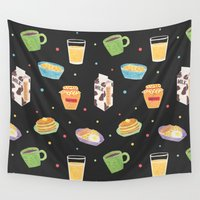 breakfast Wall Tapestries featuring Yummy Breakfast by haidishabrina
