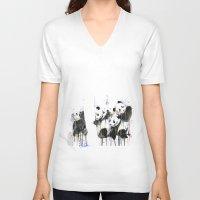 pandas V-neck T-shirts featuring Pandas by ellaclawley